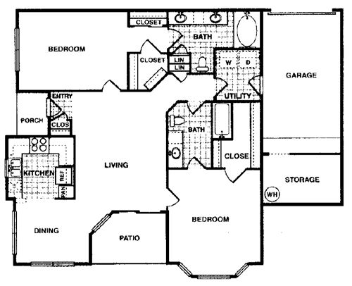 1,117 sq. ft. Magnolia F1 floor plan