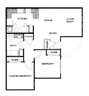 866 sq. ft. 60-B floor plan
