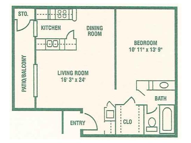 661 sq. ft. 60% floor plan
