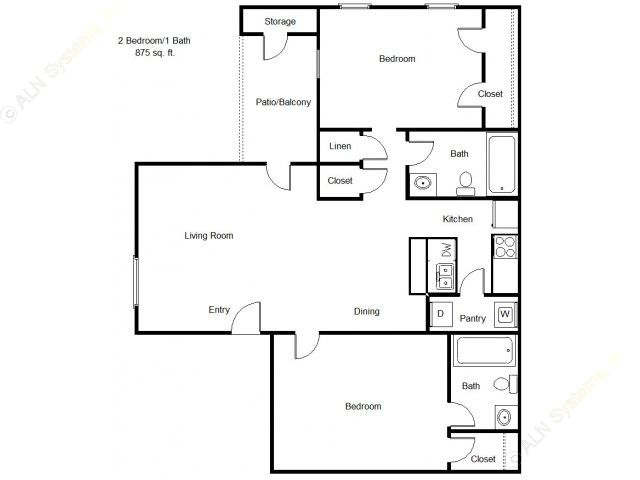 875 sq. ft. 60% floor plan
