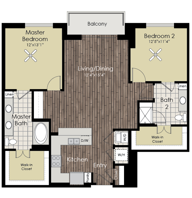 1,254 sq. ft. B6 floor plan