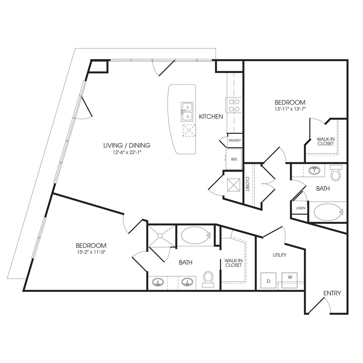 1,357 sq. ft. Park Lane floor plan