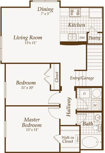 918 sq. ft. Virginia-Up floor plan