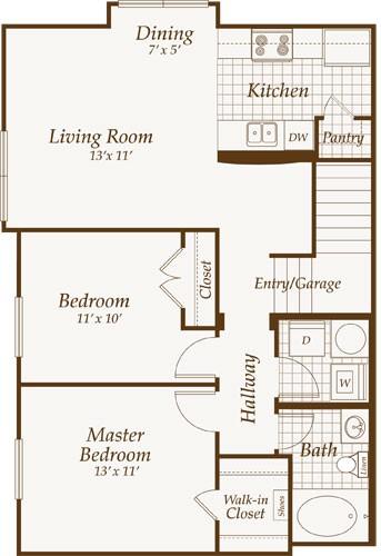 918 sq. ft. VIRGINIA-up floor plan