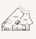 709 sq. ft. A1M floor plan