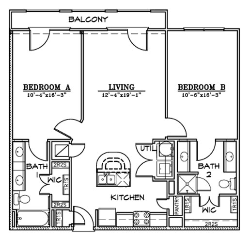 1,034 sq. ft. B7D/E floor plan