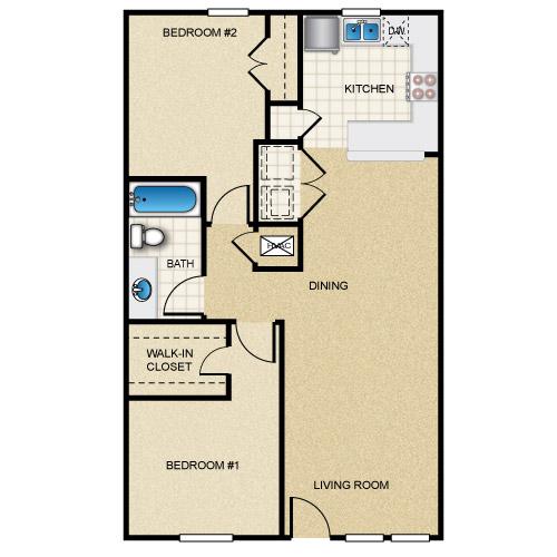 916 sq. ft. floor plan