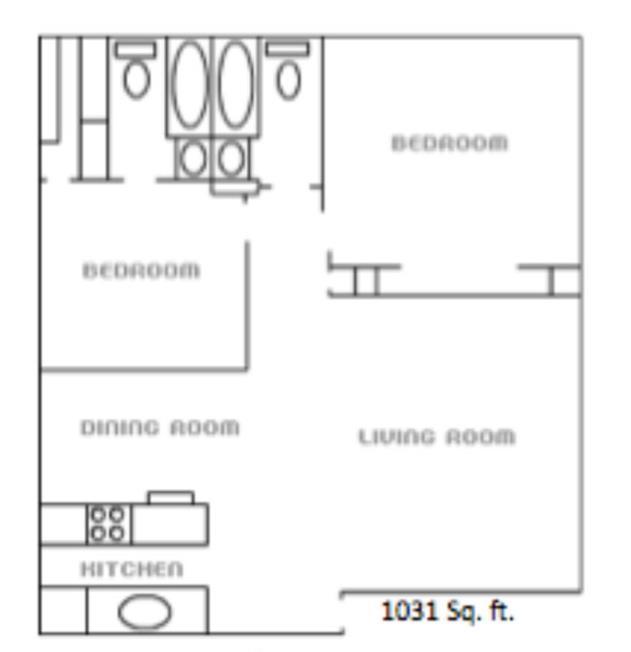 1,031 sq. ft. floor plan