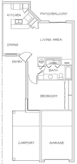 708 sq. ft. floor plan