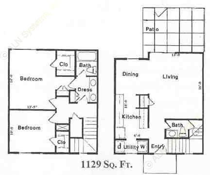 1,129 sq. ft. B2 floor plan