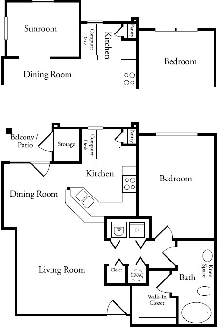 791 sq. ft. A2 floor plan