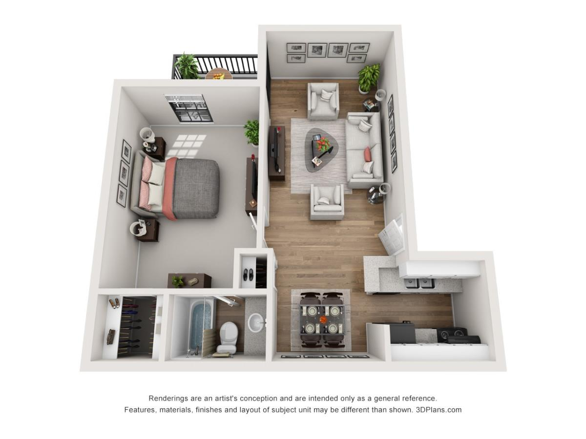552 sq. ft. A1 floor plan
