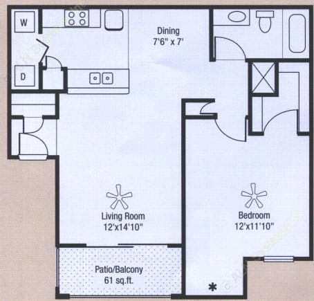716 sq. ft. to 777 sq. ft. floor plan