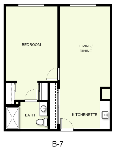 695 sq. ft. B7 floor plan