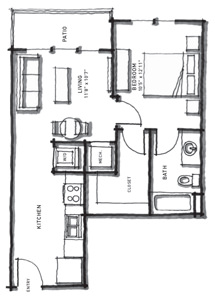 581 sq. ft. A1/60% floor plan