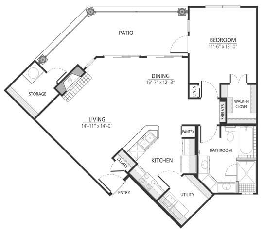 911 sq. ft. A4fp floor plan