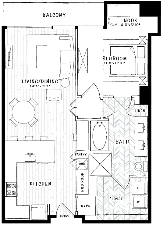 914 sq. ft. A5 floor plan