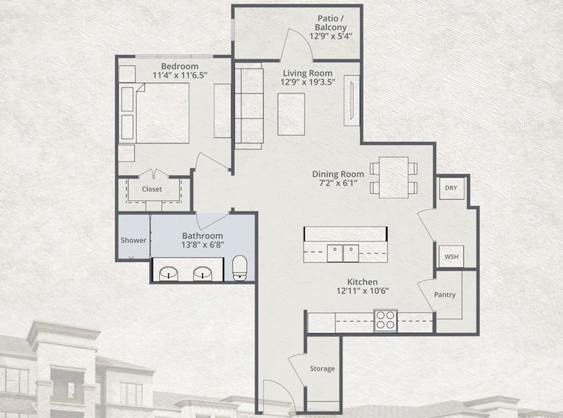 900 sq. ft. Spirit floor plan