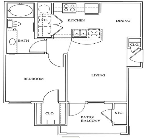 623 sq. ft. 11A floor plan