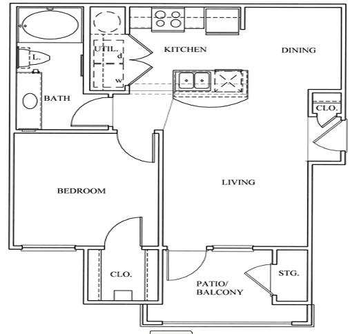 623 sq. ft. 11A floor plan