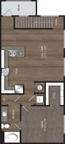 875 sq. ft. CH1 floor plan