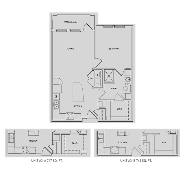 742 sq. ft. A3/A3-A/A3-B floor plan