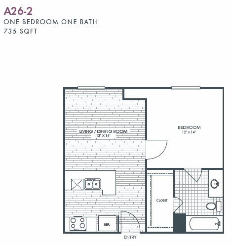 735 sq. ft. A26-2 floor plan