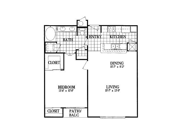 875 sq. ft. A4 floor plan