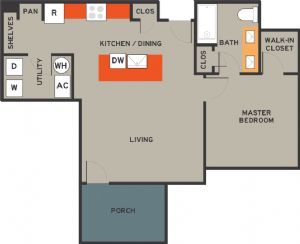 771 sq. ft. 50% floor plan