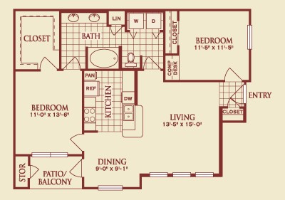 1,109 sq. ft. B1 floor plan