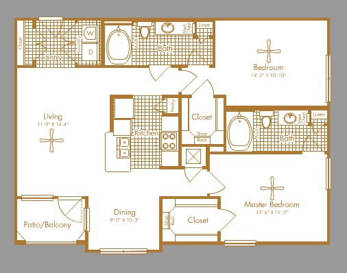 1,102 sq. ft. KIRBY floor plan