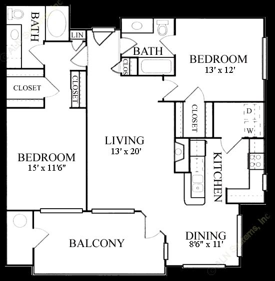 1,200 sq. ft. B5 floor plan