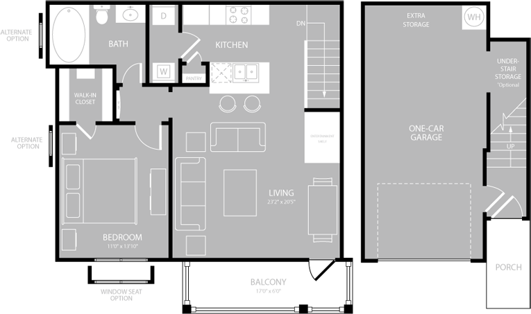 787 sq. ft. A4 floor plan