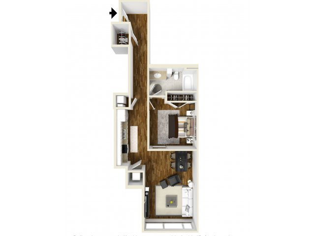 821 sq. ft. Highland floor plan