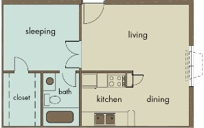 525 sq. ft. A2/INTEGRITY floor plan