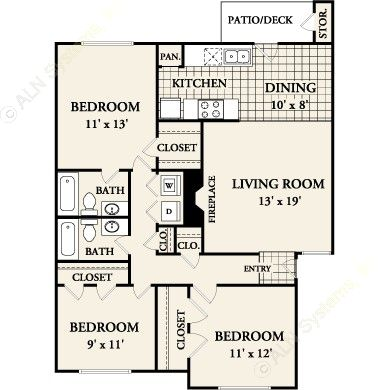 1,093 sq. ft. C-1 floor plan