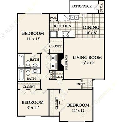 1,093 sq. ft. C-1 floor plan