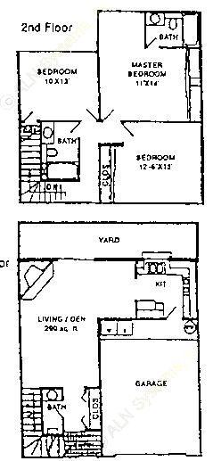 1,380 sq. ft. C2 floor plan