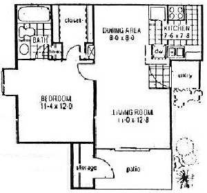 655 sq. ft. A1 floor plan