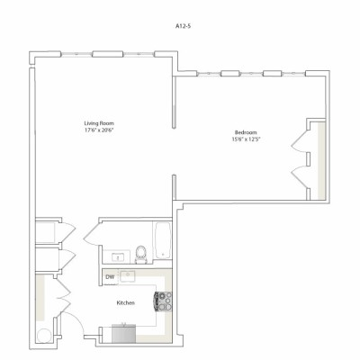 933 sq. ft. A12-5/A12-6 floor plan