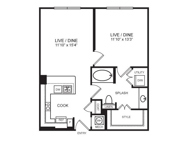 716 sq. ft. Mockingbird floor plan