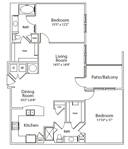 1,303 sq. ft. floor plan