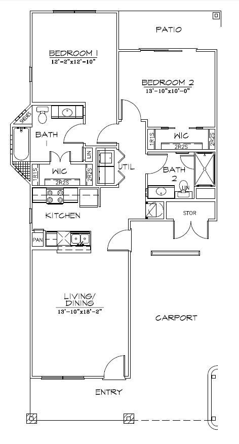 1,080 sq. ft. Mkt floor plan