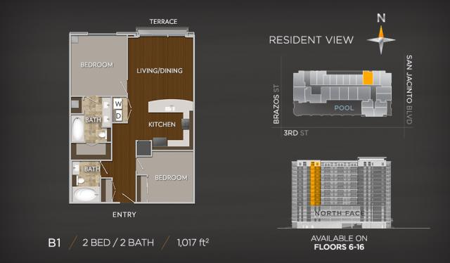 1,017 sq. ft. A7 floor plan
