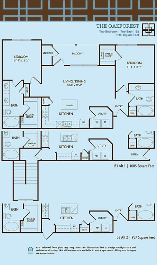 1,092 sq. ft. to 1,113 sq. ft. B3/OAKFOREST floor plan