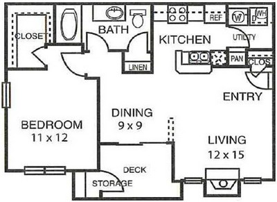 748 sq. ft. A2 floor plan