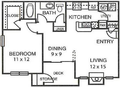 748 sq. ft. A2 floor plan