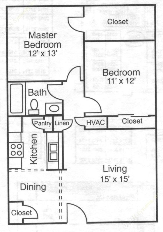 864 sq. ft. 50% floor plan