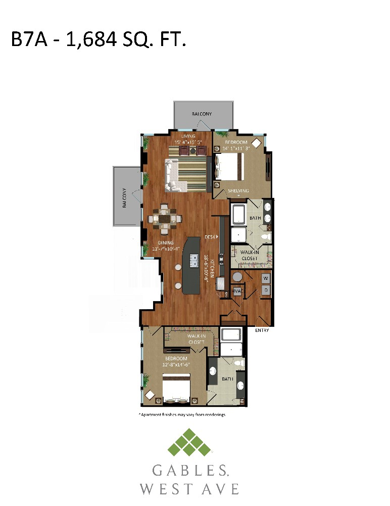 1,684 sq. ft. B7A floor plan