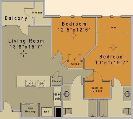 968 sq. ft. to 1,015 sq. ft. Carrington/50% floor plan